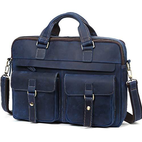 À Vintage En Messenger Portable Cartable Grand Collège Blue Bandoulière Cuir Bag Ordinateur Véritable Mens Mallette Sac Étanche Honneury gwBqP6SnxW