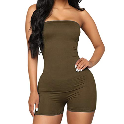 (Alangbudu Women Camouflage Short Romper Off Shoulder Bandeau Elastic High Waist Catsuit Cute Jumpsuit Playsuit Jumper)