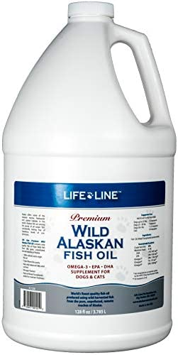 Life Line Pet Nutrition Wild Alaskan Fish Oil Omega-3 Supplement for Skin Coat Supports Brain, Eye Heart Health in Dogs Cats