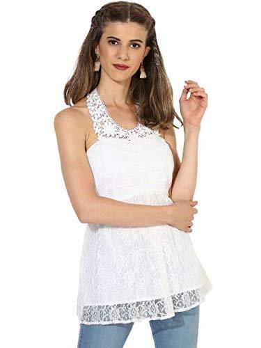 Magzayra Women White Self Design Top