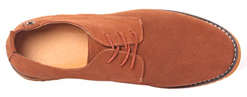 Runday Men's Fashion Suede Leather Shoes Round Toe Lace Up Casual Oxfords(9 D(M)US,tan) (9 D(M) US, Tan) by Runday (Image #5)