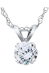 1/2ct Round Diamond Solitaire Pendant 14K White Gold Brilliant Cut