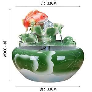 Fuente de agua de cerámica china humidificador adornos regalos empresariales inauguracion Salon Feng Shui suerte acuario de escritorio,N: Amazon.es: Hogar