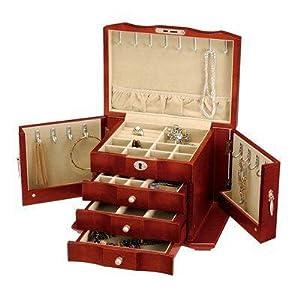 Seya burlwood wooden jewelry box w lock and for Jewelry box with key