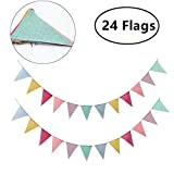 Pennant Bunting Banner Flag, 2 Pack 12Pcs Cotton Triangle Flags Banner 4M for Wedding Christmas Nursery Birthday Party Indoor Outdoor Decorations