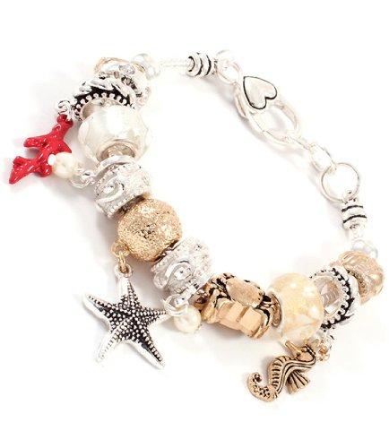 Sea Life Charm Bracelet BW Murano Glass Seahorse Starfish
