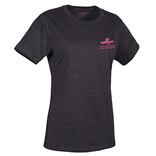 (Grundéns Women's Eat Lobster T-Shirts, Heather Charcoal with Fandango Pink Logo - X-Small)