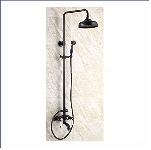 GOWE Luxury Brass Rainfall Shower Set, Black Color Shower Bar, Wall Mounted Shower Column 0