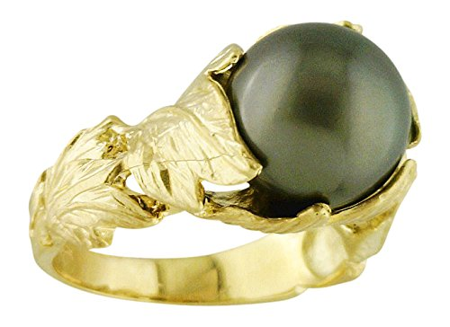 Women's Leaf Setting With Tahitian Cultured Pearl Ring 14k Yellow Gold Size 7