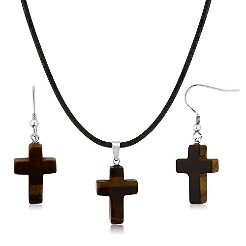Gem Stone King Gorgeous Tigers Eye Cross Necklace Set with Matching Tigers Eye Stone ()