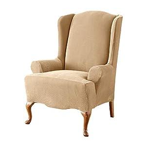 SureFit Home Décor Pique Knit T-Cushion Wingback Chair Slipcover, Stretch Form Fit, Polyester/Spandex, Machine Washable…