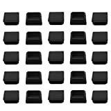 uxcell 45 x 45mm Plastic Square Ribbed Tube Inserts End Cover Cap 25pcs, for 1.65'' to 1.73'' Inner Size, Furniture Sofa Chair Table Feet Floor Protector