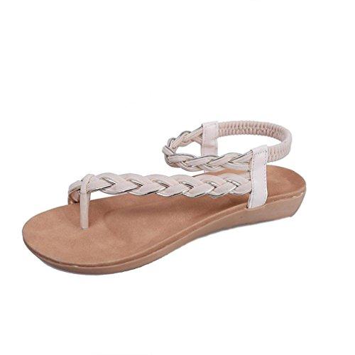 DDLBiz Women Bohemian Flat Shoes Bandage Leisure Beach Sandals Casual Shoes (US:7.5(9.5-9.7
