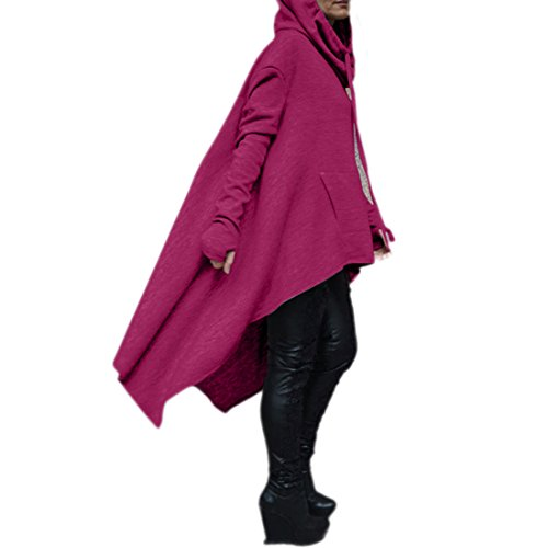 Women's Hoodie Hi Asymmetric Cord Long Fashion Draw Purple Hem Low Pockets Color Pullover Coat Solid rv0g8Wnr