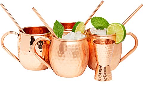 Kitchen Science Moscow Mule Hammered Copper 16 Ounce Drinking Mug, Set of 4 (4) (4) by Kitchen Science (Image #8)