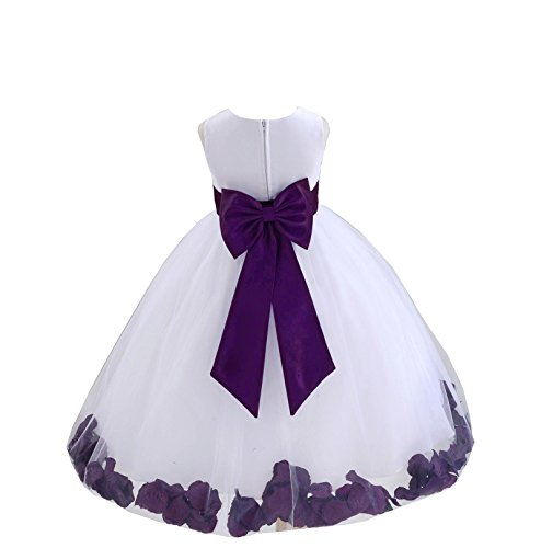 ekidsbridal White Tulle Rose Petals Flower Girl Dress Tulle Dress Christening Dress 302T 4