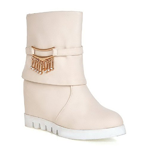 Allhqfashion Mujeres Pu Solid Pull On Round Closed Toe Botas De Tacón Alto Beige
