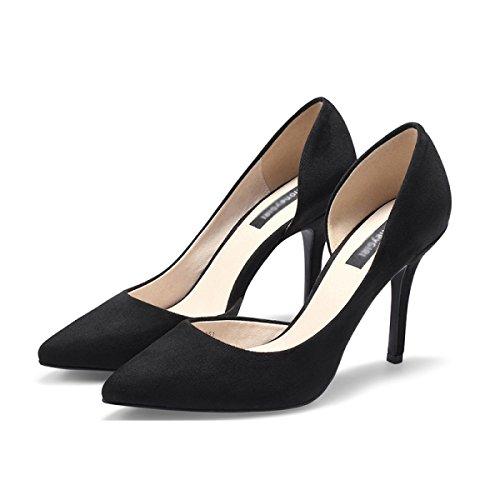Scarpe Da Donna Primavera Estate Tacchi Alti In Pizzo Tacchi A Spillo Moda Scarpe Corte Bocca Superficiale Scarpe Singole Donna Nero (9.5cm)