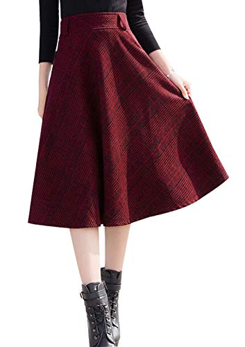 Red Skirt Wool Suit (chouyatou Women's High Waisted A-Line Pleated Midi Plaid Wool Skirt with Pocket (Large, Red))