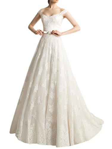 Ikerenwedding mujeres del Apagado hombro Empire a-line largo de encaje de novia para vestidos de novia Marfil