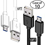 (6ft Wht+10ft Blk) Android Phone Fast Charger Cord with Extra Long Length for Samsung Galaxy S7 Edge/S7/S6 Edge/S6