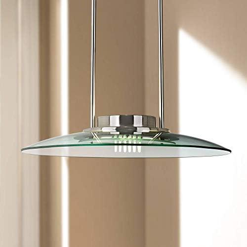 Mach Brushed Nickel Pendant Light 19 Wide Modern Halogen Ribbed Glass for Kitchen Island Dining Room – 360 Lighting