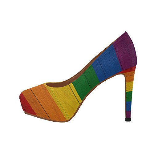 InterestPrint Rainbow Womens Sexy High Heels Pump Shoes Rainbow3 ZKjRib0WAK