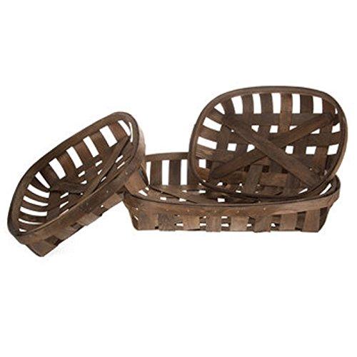 Tobacco Basket Set, 3 Baskets, Farmhouse Wall Decor (Basket Large Tobacco)