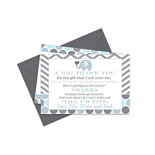 Blue Elephant Baby Shower Thank You Cards and Envelopes - 15 Pack