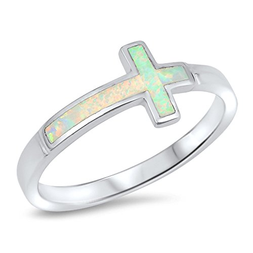 Sideways Cross Christ Ring .925 Sterling Silver Band Size 5 ()