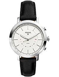 Q Women's Neely Stainless Steel and Leather Hybrid Smartwatch, Color: Silver-Tone, Black (Model: FTW5008)