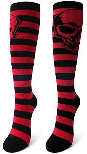 Delisocks Women's Skull Red Stripe Colors Novelty Design Casual Knee High Socks - Pink Skull Knee Socks