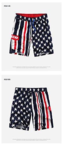 Dreamall Men's High Waisted American flag Shorts Pants L Black