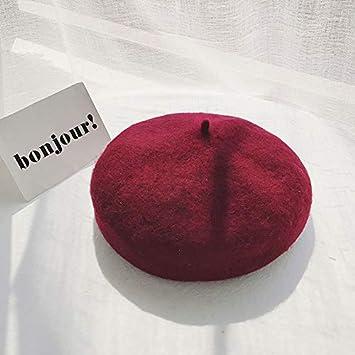 BYLLZZ Boina Dama Corea Nudo Mariposa de otoño e Invierno de Calabaza Japonesa Hat con Lana Moda Pintor Hat Gorras