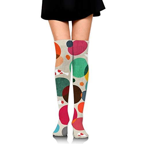 (Women's Socks Lotus In Koi Pond Girl High Stockings 65 Cm)