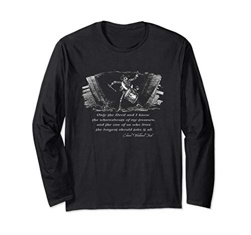 Drumming Pirate Skeleton with Blackbeard quote Halloween Long Sleeve T-Shirt ()