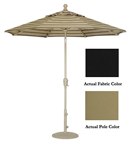 Treasure Garden Crank Tilt Patio Market Black Umbrella, Champagne, 9'