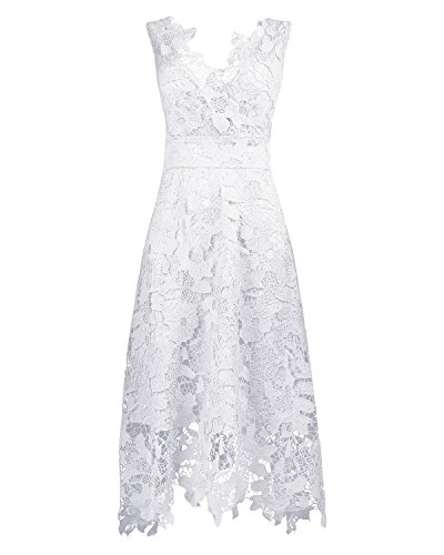 KIMILILY Women's White V Neck Elengant Floral Lace Swing Bridesmaid Dress(W