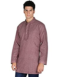 Indian Clothing Fashion Shirt Embroidered Mens Short Kurta Cotton India Dress