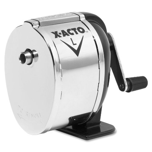 X-Acto 1041 Model l table- or wall-mount pencil sharpener, chrome receptacle, black base, 1 Unit