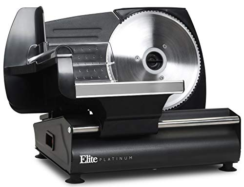 Elite Platinum EMT-625B Ultimate Precision Electric Deli Food Meat Slicer Removable Stainless Steel Blade, Adjustable Thickness, Ideal for Cold Cuts, Hard Cheese, Vegetables & Bread, 7.5
