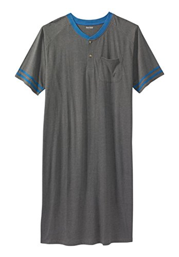 Kingsize Mens Short Sleeve Henley Nightshirt