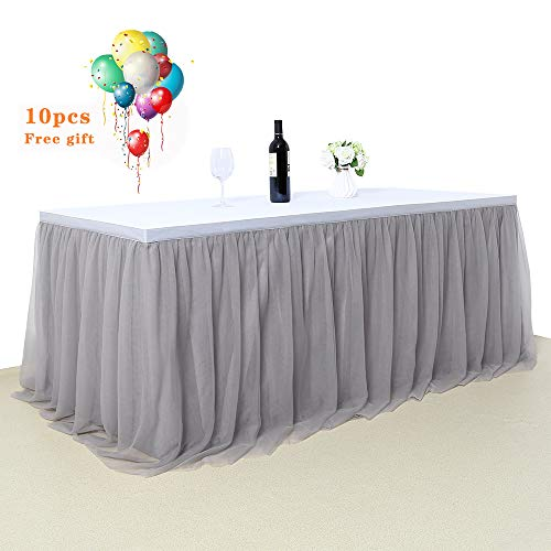 (B-COOL 3 Yards Tutu Table Skirt Gray Handmade Gold Brim Plastic Table Skirt for Baby Shower Wedding Ceremony Birthday Party(L9(ft) H 30in))