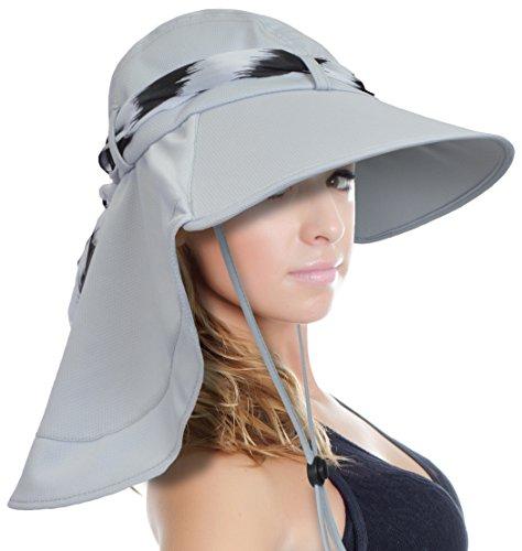 Sun Blocker Women's Sun Hat Large Brim Beach Travel Fishing Hat with Neck Flap by Sun Blocker