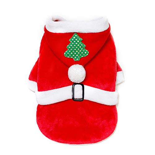 Christmas Tree Pet Dog Clothes Santa Doggy Costumes Pet Apparel Pet Dog Christmas Fannel Winter Warm Sweater Pet Shirt Dog Cold Weather Jacket Small Dogs Coat Sweatshirt Dog Outfits (Red, XL)