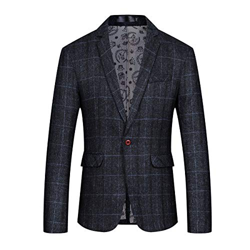 - Mens Slim Fit Sport Coat Casual One Button Plaid Notch Lapel Jacket Blazer Black