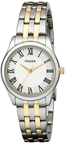 5 Analog Display Japanese Quartz Two Tone Watch (Two Tone Pulsar Fashion Watch)