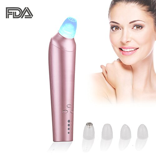 Blackhead Remover Comedo Suction Microdermabrasion Machine Vacuum Blackhead Removal Rechargeable Skin Peeling Machine Comedone Extractor Set with Blue Light(Pink) Review