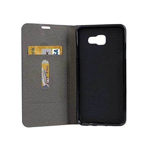 Fashion & personality Para la galaxia A3 (2016) / A310 de Samsung patrón de la lona PU + caja horizontal del cuero del tirón de TPU con el sostenedor y ranuras para tarjeta ( Color : Grey ) Blue