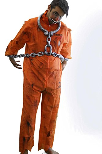 Halloween-Creepy-Scary-Convict-Zombie (2) ORANGE PRISONER BOILER SUIT, SHACKLES, BLOOD, MOUTH & MAKEUP - One Size Only